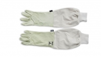 Professional leather gloves with elbowlength sleeve and elastic band