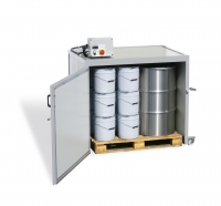 Electrically heated warming cabinet, cap. two 300kg drums, 2000W
