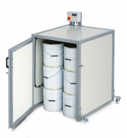 Small electrically heated warming cabinet, cap. one 300kg drum, 1000W