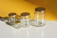 Glass honey jar, 250 gr capacity, with twist-off cap