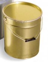 Metal bucket, conical, with inner food-grade protection and lid