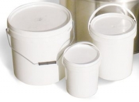 White plastic bucket, with lid, 25 Kg capacity