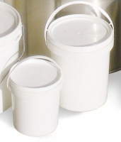 White plastic bucket, with lid, 5 Kg capacity