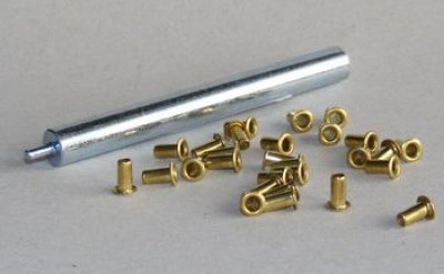 Metal eyelets &0slash 3 mm, for strengthening the holes in the wooden frame (1, 000 pieces wrapping, with inserting device)