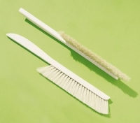 Bee brush, long wooden handle and natural bristle